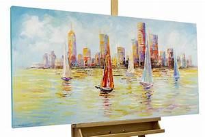 Bilder Acryl Modern : acryl gem lde 39 segelschiffe skyline 39 handgemalt leinwand bilder 120x60cm ebay ~ Sanjose-hotels-ca.com Haus und Dekorationen
