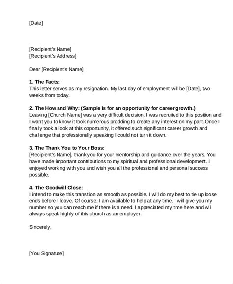 sample letter  resignation  church position