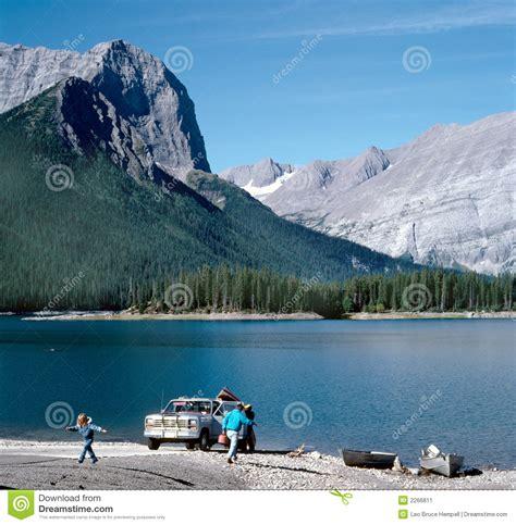 mountain lake family vacation canada stock image image