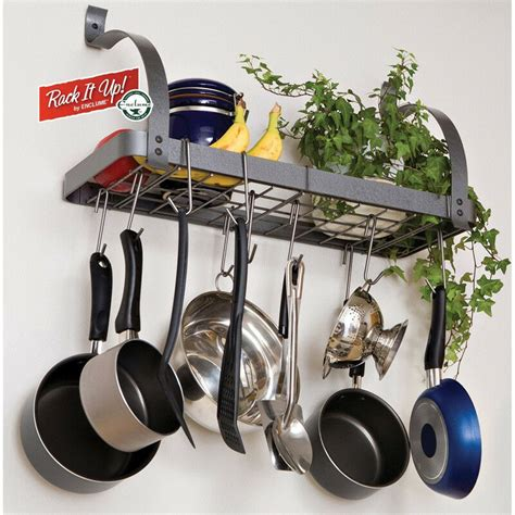 pot rack wall mount pots and pans rack cookware hanger wall mount shelf