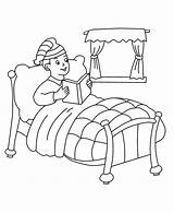 Bed Coloring Pages Boy Drawing He Template Reading Sitting Printable Para Cama Pintar Getdrawings sketch template