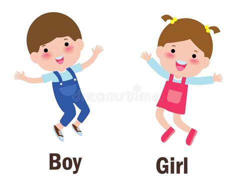 words boy  girl vector illustration