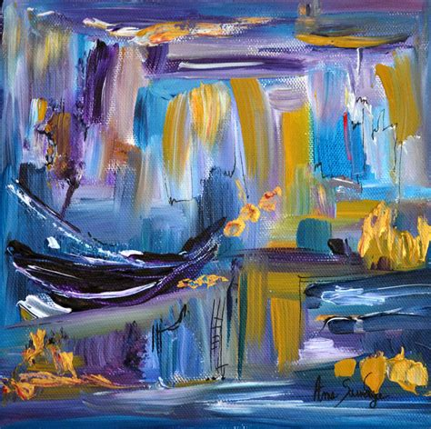 peinture moderne au couteau peinture abstraite moderne violet bleu or au couteau