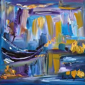 Tableau Peinture Moderne : peinture abstraite moderne violet bleu or au couteau ~ Teatrodelosmanantiales.com Idées de Décoration