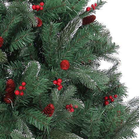 4ft 5ft 6ft 7ft artificial christmas tree frosted tips red pine cones barries ebay