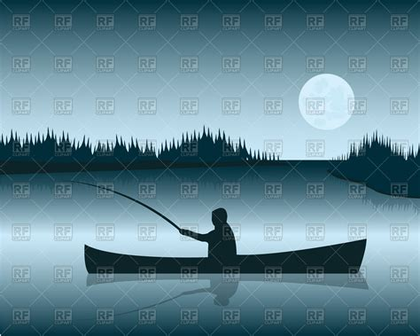 Boat On Lake Clipart by Silhouette Of Boat With Fisherman On Background Lake