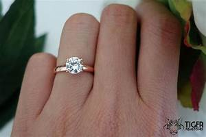 1 carat solitaire ring low profile rose engagement ring With wedding ring 1 carat diamond