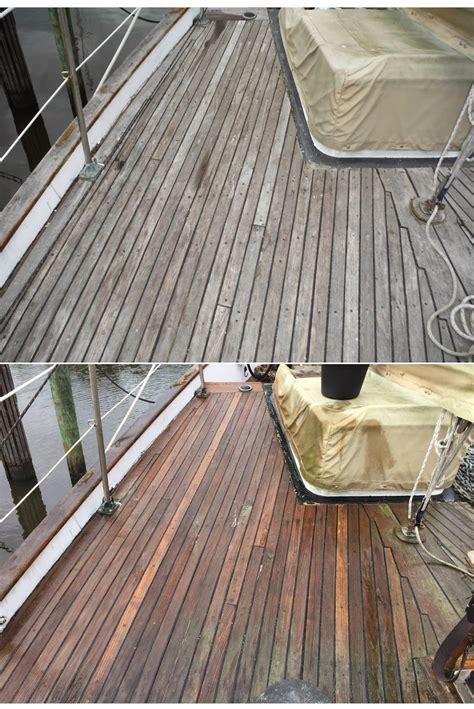 cleaning  teak decks svdreamchaser