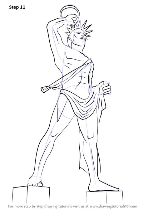 learn   draw colossus  rhodes statues step  step drawing tutorials