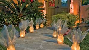 screen wrapped luminaries With outdoor christmas lights for walkway