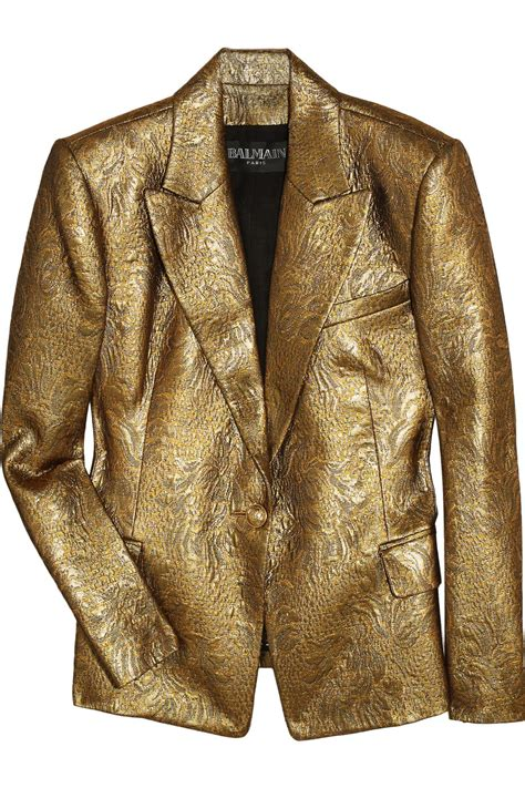 balmain metallic brocade jacket  metallic lyst