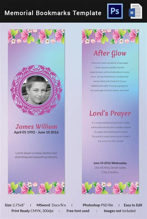 memorial bookmark templates  word  psd