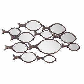 42 best beach house decor images on pinterest bathroom With kitchen cabinets lowes with shoal of fish metal wall art