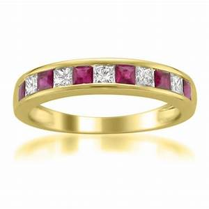 14k yellow gold princess cut diamond and red ruby wedding for Wedding rings and bands