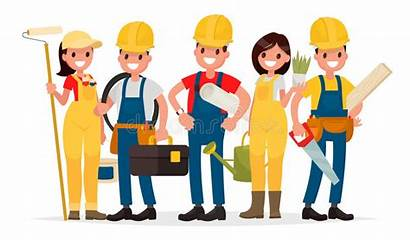 Workers Team Vector Building Painter Foreman Electrician