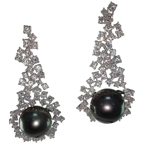 pearl chandelier earrings tahitian cultured pearl chandelier earrings for