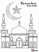 Ramadan Coloring Kareem Mosque Crescent Bubakids Cartoon Sheets Dot Printable sketch template