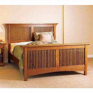 Arts & Crafts Bed, Mission Style Woodworking Plan from