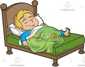 the bed comic a boy sleeping comfortably clipart vector