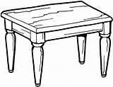 Table Coloring Furniture Pages Kitchen Printable Quiet Templates Kartun Vanity sketch template