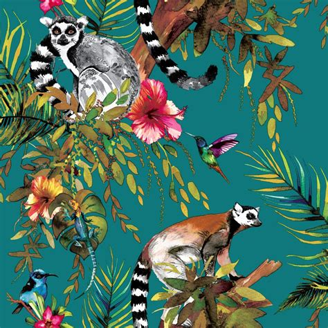Tropical Animal Wallpaper - lemur by albany teal wallpaper direct