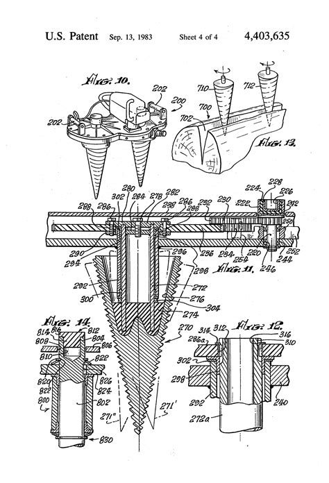 Patent US4403635 - Powered wood splitter with multiple