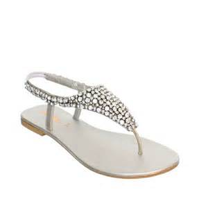 silver shoes for wedding womens flat diamante sparkly toe post silver wedding sandals size 3 8 ebay