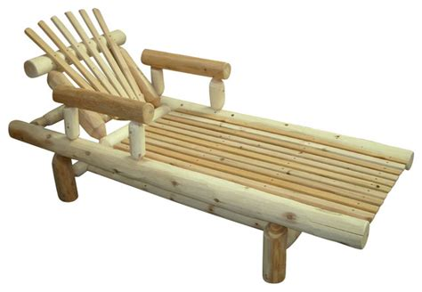 rustic white cedar log adjustable lounge chaise rustic