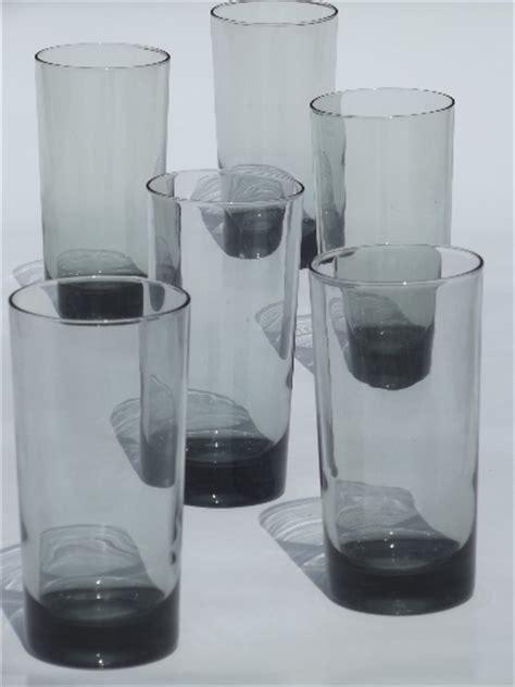 retro grey smoke glass tumblers tall bar glasses vintage