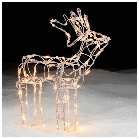 lighted white wire standing deer holiday decor shines