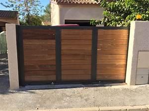 Portail En Bois : portail coulissant m tal et bois grabels vente portails ~ Premium-room.com Idées de Décoration
