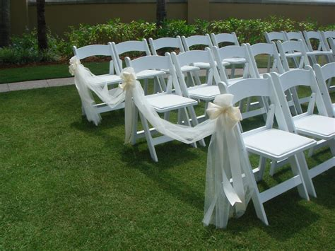 wedding ceremony chair decorations tulle and ribbon bows