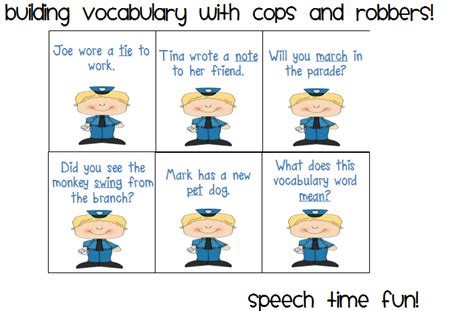 Ipod Touch And Iphone Template Building Vocabulary With Cops And Robbers