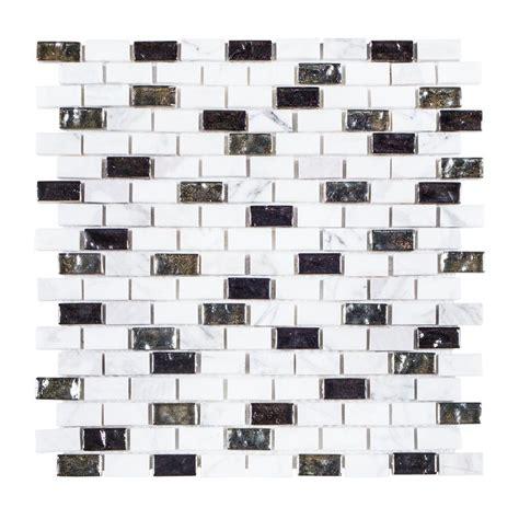 Jeffrey Court Glass Mosaic Tile by Jeffrey Court Polar 11 3 8 In X 12 In X 8 Mm