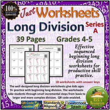 long division worksheets beginning levels