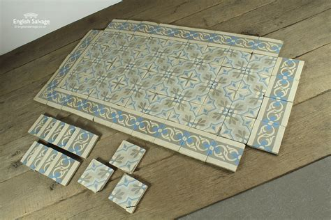 blue grey geometric border tiles