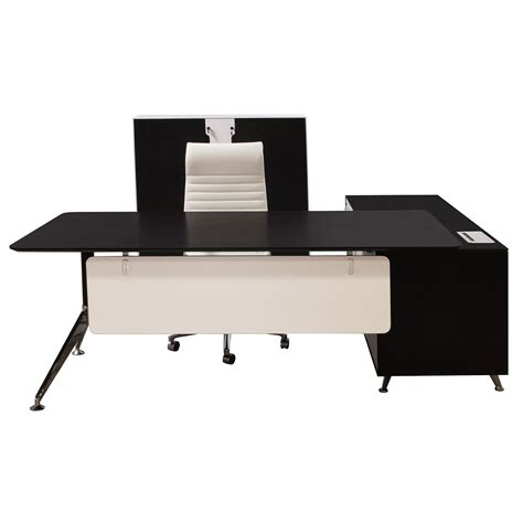 black and white desk l morgan manager left return melamine l shape desk black