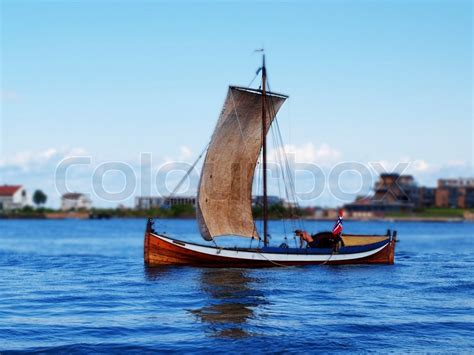 traditional norwegian sailboat  stock photo
