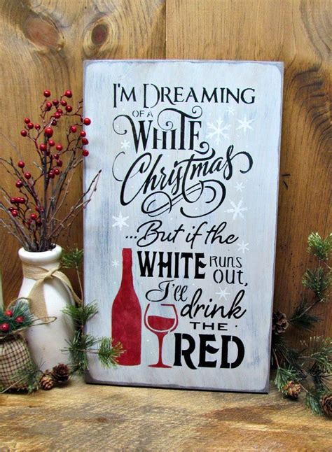winter decor christmas sign white christmas red wine