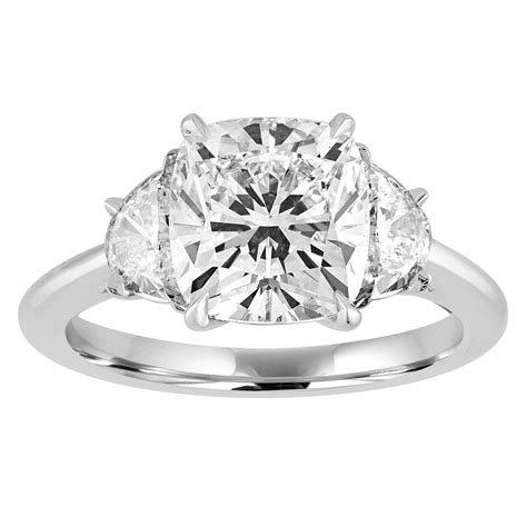 cushion cut engagement ring with half moon side stones gottlieb jewelry
