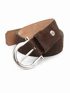 Ferragamo Gancini Suede Buckle Belt in Brown for Men | Lyst
