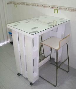 Table Sur Roulettes : table palette sur roulettes dans cuisine studio ~ Teatrodelosmanantiales.com Idées de Décoration