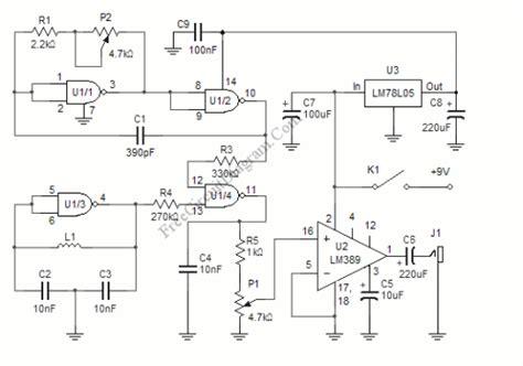 Simple Metal Detector Circuit Using Beat Frequency