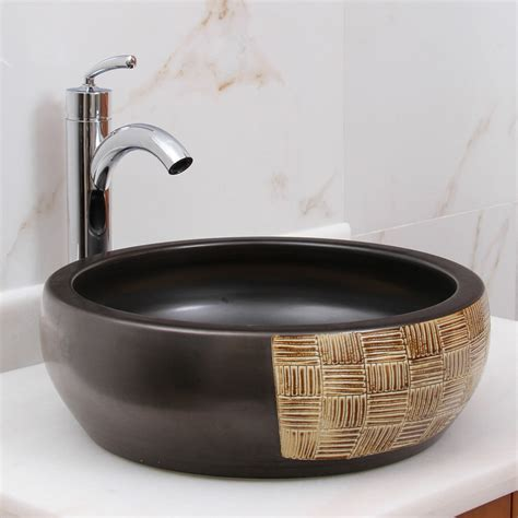Bathroom Sink Blocked by Elimaxs Bamboo Weave Block Vessel Bathroom Sink Wayfair