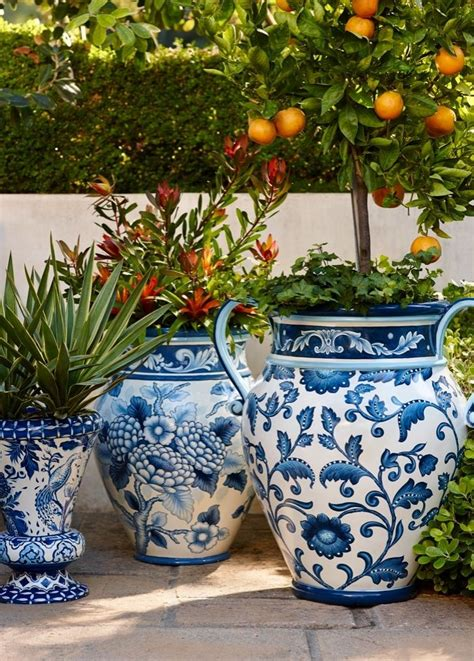 Outdoor Pottery Planters by Blue And White Painted Planters Beautiful Planters And