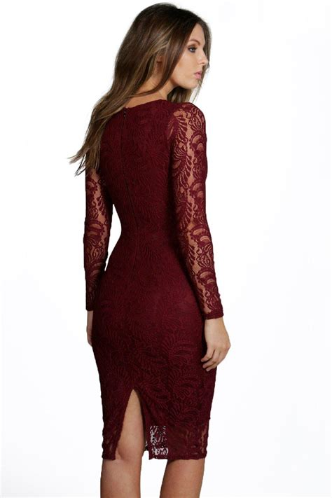 Boohoo Womens Sia Lace Long Sleeve Plunge Bodycon Midi