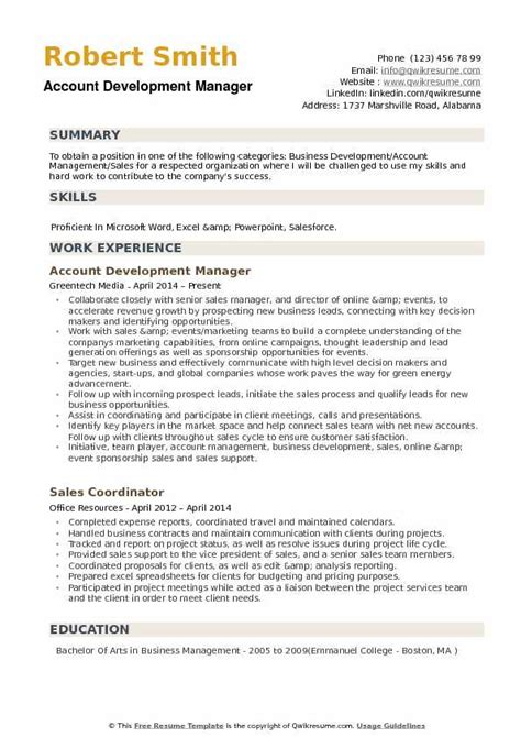 Business Development Sales Manager Resume by Account Development Manager Resume Sles Qwikresume