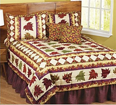fall bedding sets autumn fall leaves cabin decor patchwork 6pc king