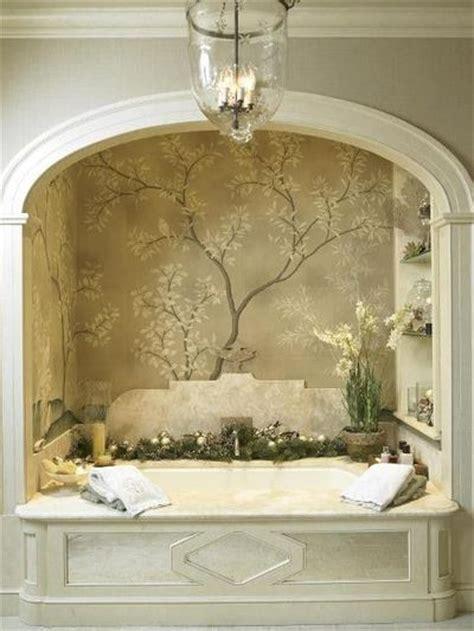 bathroom alcove ideas bath alcove w arch and wallpaper mural shelves marble