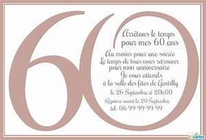 Faire Part Anniversaire 60 Ans : texte pour carte anniversaire 60 ans homme ~ Edinachiropracticcenter.com Idées de Décoration
